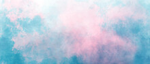 Blue Red Sky Gradient Watercolor Background With Clouds Texture