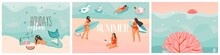 Hand Drawn Vector Abstract Stock Graphic Summer Time Cartoon, Contemporary Illustrations Prints Collection Set With Beach Surfers Group Characters,flamingo Floats And Mermaid On Color Background.