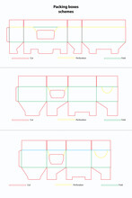 Vector Scheme Mockup For Box Cutting And Folding. Template Blueprint For Product Packaging. Concept Of Shipping, Cardboard Packaging, And Transportation.