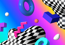 Abstract Background With Flying Colorful 3D Geometric Shapes Over Vibrant Gradient Backdrop. Lush And Bold Colored Abstraction With Checkered Shape In 90s Style.