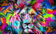 colorful artistic lion muzzle with bright paint splatters on dark background.