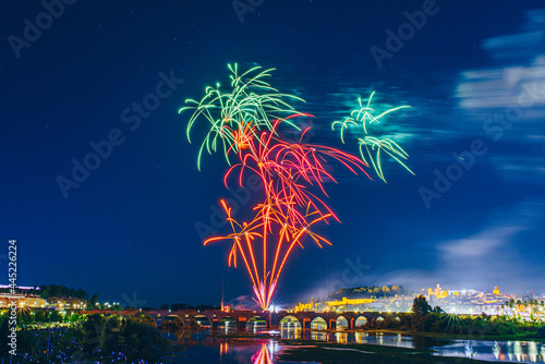 Fotografie, Obraz Colorful fireworks explosion on the black background