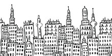 Horizontal Seamless Pattern With City Buildings