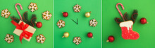 Christmas Collage. Gift Box, Gingerbread And Clock Face On The Green Background. Top View.