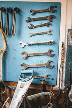 Old Tools Nicely Displayed On A Wall
