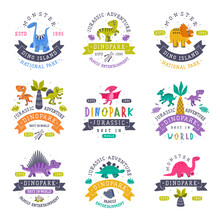 Dino Island And Dino Park Family Entertainment Emblem With Funny Dinosaurs As Cute Prehistoric Creature And Comic Jurassic Predator Vector Set