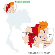 Maps Of Northern Thailand With 9 Province, Chiang Mai, Chiang Rai, Phrae, Phayao, Lampang, Maehhongson, Uttaradit, Lamphun, Nan And Focus On Chiang Mai With Red Colour And Blue Pin Map
