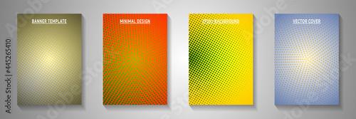 Fotografia, Obraz Elegant point perforated halftone cover templates vector set