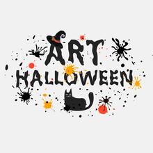 Inscription Artistic Text Art Halloween For Design Holiday Card. Vector