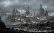 A Futuristic City With Mysterious Castles. A Non-existent Landscape. Oil Painting On Canvas. Contemporary Art.