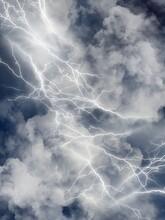 雨雲と稲妻が光るゲリラ豪雨の背景素材