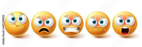Smiley emoji angry vector set. Smileys sad and serious yellow faces collection isolated in white background for upset emojis graphic elements . Vector illustration