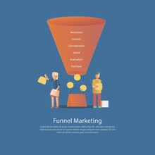 Marketing Funnel Stages Conversions,The Purchase Funnel Customer Focus Marketing Model, Customer Journey To Purchase Good Or Service,awareness,Interest,consideration,intent,evaluation,purchase.vector.
