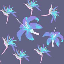Blue Pattern Background. Indigo Tropical Leaves. Cobalt Floral Nature. Violet Flora Foliage. Purple Decoration Leaves. Navy Wallpaper Leaves. Coral Spring Art.