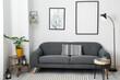 Leinwandbild Motiv Interior of stylish living room with comfortable sofa