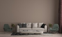 Home And Decor And Minimal Living Room Interior With White Sofa And Side Table And Empty Brown Wall Pattern Wall Background,3d Rendering