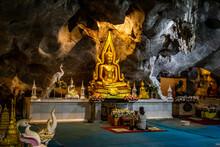 Wat Tham Pu Wa Temple In The Cave In Kanchanaburi, Thailand