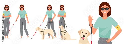 Obraz na plátne Set of blind girl with guide dog