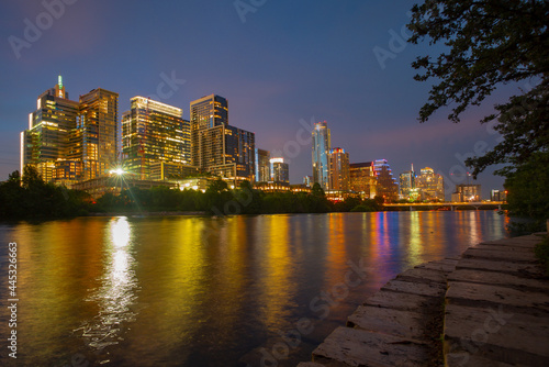 Downtown Skyline of Austin, Texas in USA from view at sunset. Night sunset city.