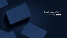 Elegant And Modern Navy Business Cards Mockup Tamplate With Dark Background. Vector Illustration
