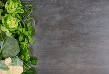 Green Vegetables And Dark Leafy Food Background As A Healthy Eating Concept Of Fresh Garden Produce Organically Grown As A Symbol Of Health. Green Organic Vegetarian Products.