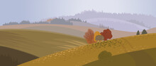 Autumn Panoramic Landscape In Flat Cartoon Style, Splash For Cover Or Postcard. Carpathians - Nature Of Mountains And Fields, Template For The Seasonal Calendar.