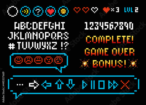 Obraz na plátne Pixel Art 8 bit Game Font and numbers with icons set speech bubble for space arcade design