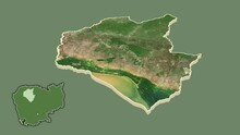 Siemreab - Province Of Cambodia Extruded And Isolated. Satellite