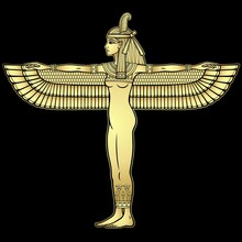 Animation  Portrait: Winged Goddess Of Justice Maat. Full Growth. Profile View. Gold Imitation.  Vector Illustration Isolated On A Black Background. Print, Poster, T-shirt, Tattoo.