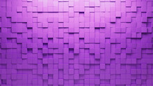 Semigloss, Purple Mosaic Tiles Arranged In The Shape Of A Wall. 3D, Polished, Bricks Stacked To Create A Square Block Background. 3D Render
