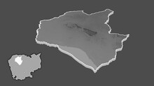 Siemreab - Province Of Cambodia Extruded And Isolated. Grayscale