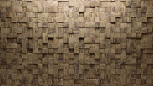 Natural Stone, Polished Mosaic Tiles Arranged In The Shape Of A Wall. Semigloss, 3D, Bricks Stacked To Create A Square Block Background. 3D Render