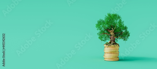 Gold coins stack with growing tree on green background. Stable business concept 3D Rendering, 3D Illustration