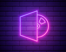 Glowing Neon Line CD Or DVD Disk Icon Isolated On Brick Wall Background. Compact Disc Sign. Vector Illustration