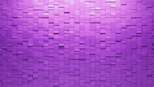 Rectangular, Purple Mosaic Tiles Arranged In The Shape Of A Wall. Semigloss, 3D, Bricks Stacked To Create A Polished Block Background. 3D Render