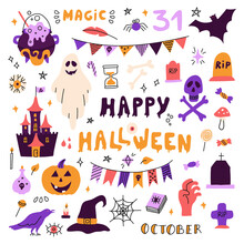A Bright Set With Characters And Icons For Halloween. Vector Flat Illustrations On A White Background. Decor For Posters, Flyers, Postcards