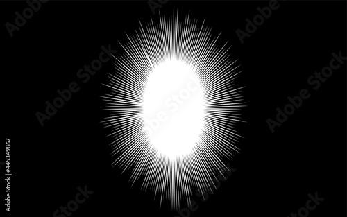 Fotografie, Obraz 黒地に白のウニフラッシュ(とげのある吹き出し)