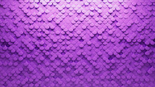 Semigloss, Polished Mosaic Tiles Arranged In The Shape Of A Wall. Fish Scale, 3D, Bricks Stacked To Create A Purple Block Background. 3D Render