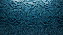 Polished, Blue Patina Mosaic Tiles Arranged In The Shape Of A Wall. Glazed, Fish Scale, Bricks Stacked To Create A 3D Block Background. 3D Render