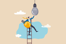 Change To New Innovation, Transform To New Business, Solution To Disrupt Or Replace Old Model With Bright Technology Concept, Success Businessman Leader Climb Up Ladder To Change Lightbulb Idea.