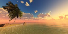 Palm Trees On The Ocean At Sunset, Tropical Sunrise Over The Beach With Palm Trees, 3D Rendering