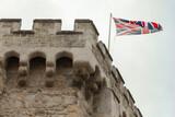 Fototapeta Konie - British flag is on the Bargate, Southampton, England
