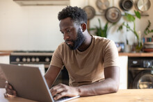 African American Businessman Working From Home