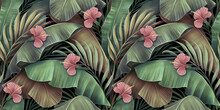 Tropical Seamless Pattern With Hibiscus Flowers, Beautiful Palm, Banana Leaves. Hand-drawn Vintage 3D Illustration. Glamorous Exotic Abstract Background Art Design. Good For Luxury Wallpapers, Clothes