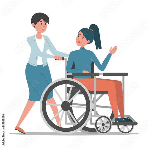 Fotografia Disabled woman in the wheelchair vector isolated