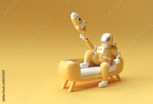 Photographie 3d Render Spaceman Astronaut Sitting on Sofa with Flying Rocket 3d illustration Design