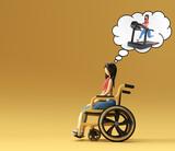3d Render Woman Sitting on wheelchair think running on treadmill 3d illustration Design.