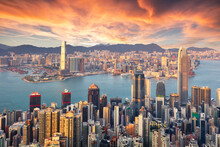 Hong Kong At Sunset, China Skyline
