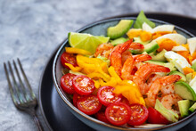 Delicious Fresh Salad With Prawns, Avocado, Eggs, Bell Pepper, Tomatoes And Herbs