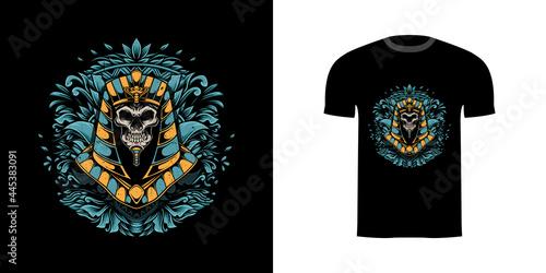retro illustration skull anubis for tshirt design, badge design character with e Fototapet